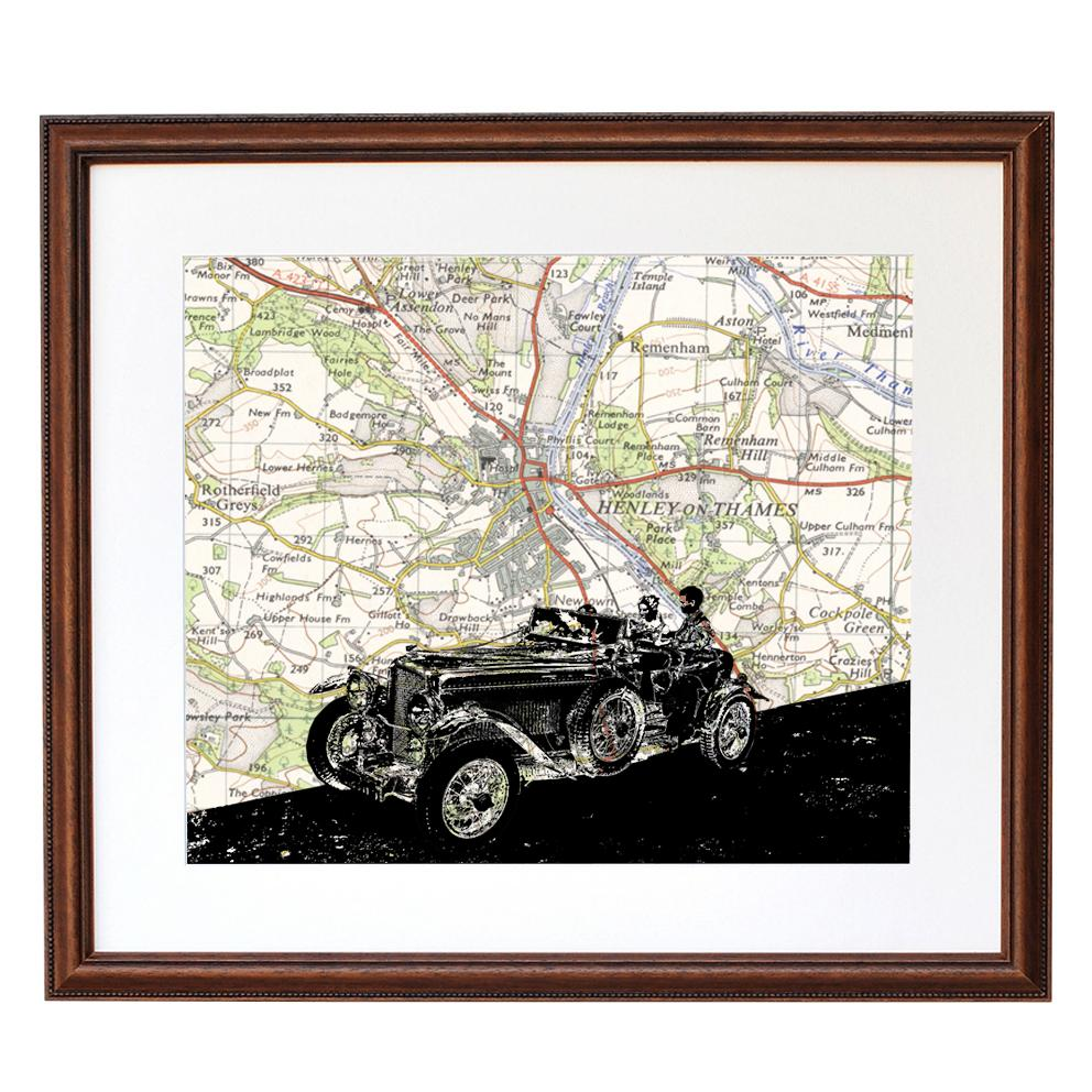 Personalised Car Portrait Over Vintage Map