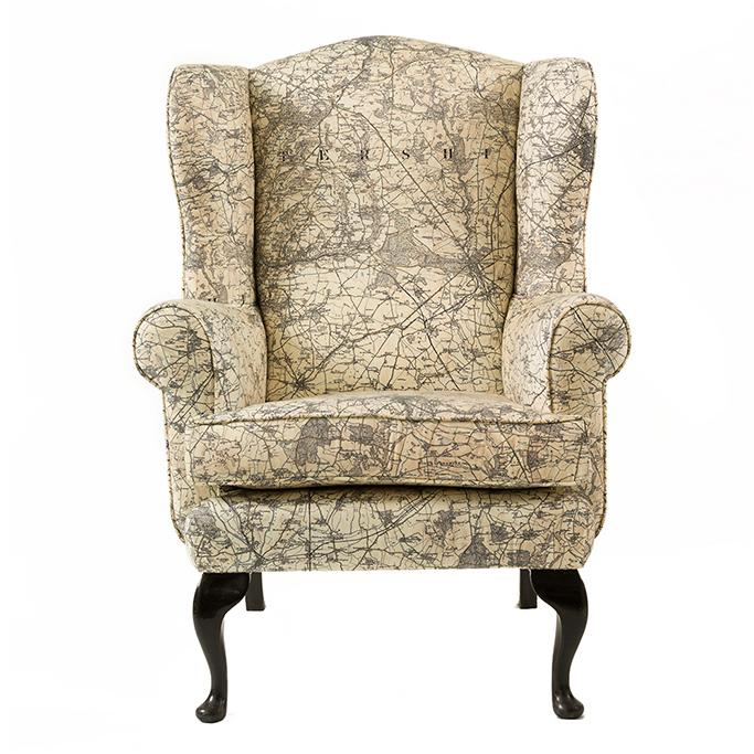 Upholstered vintage map chair