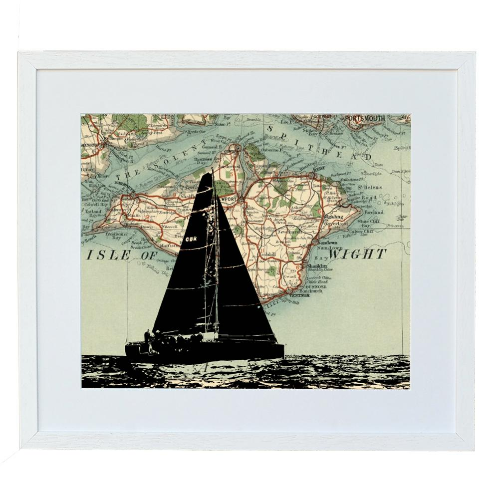 Personalised Map Bespoke Boat Silhouette