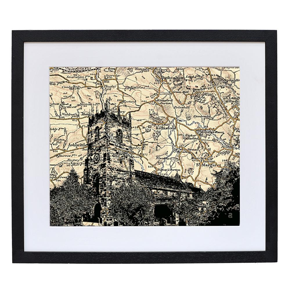 Personalised Vintage Map Church Portrait