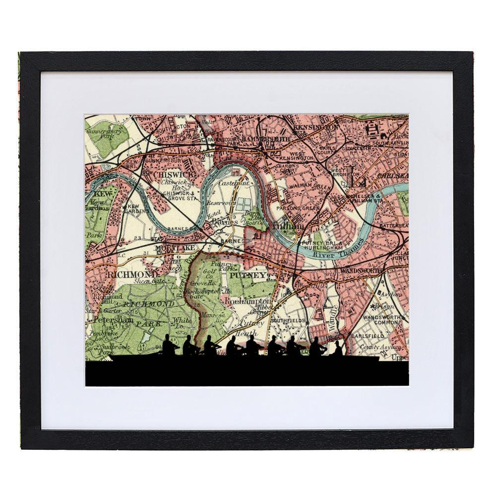 Rowing Print with Personalised Map