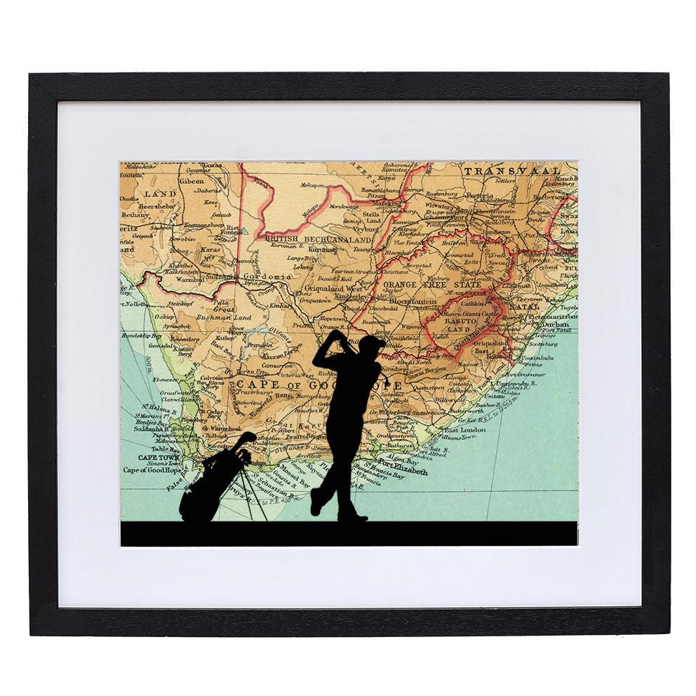 Golf Print with Personalised Map