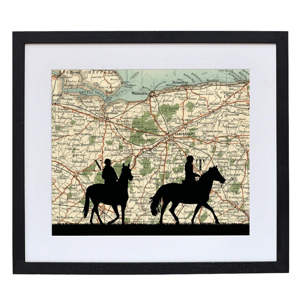 Horse Riding Print with Personalised Map