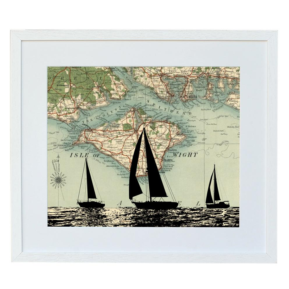 Sailing Boat Print with Personalised Map