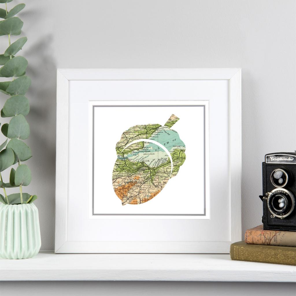 Personalised Map Acorn Print