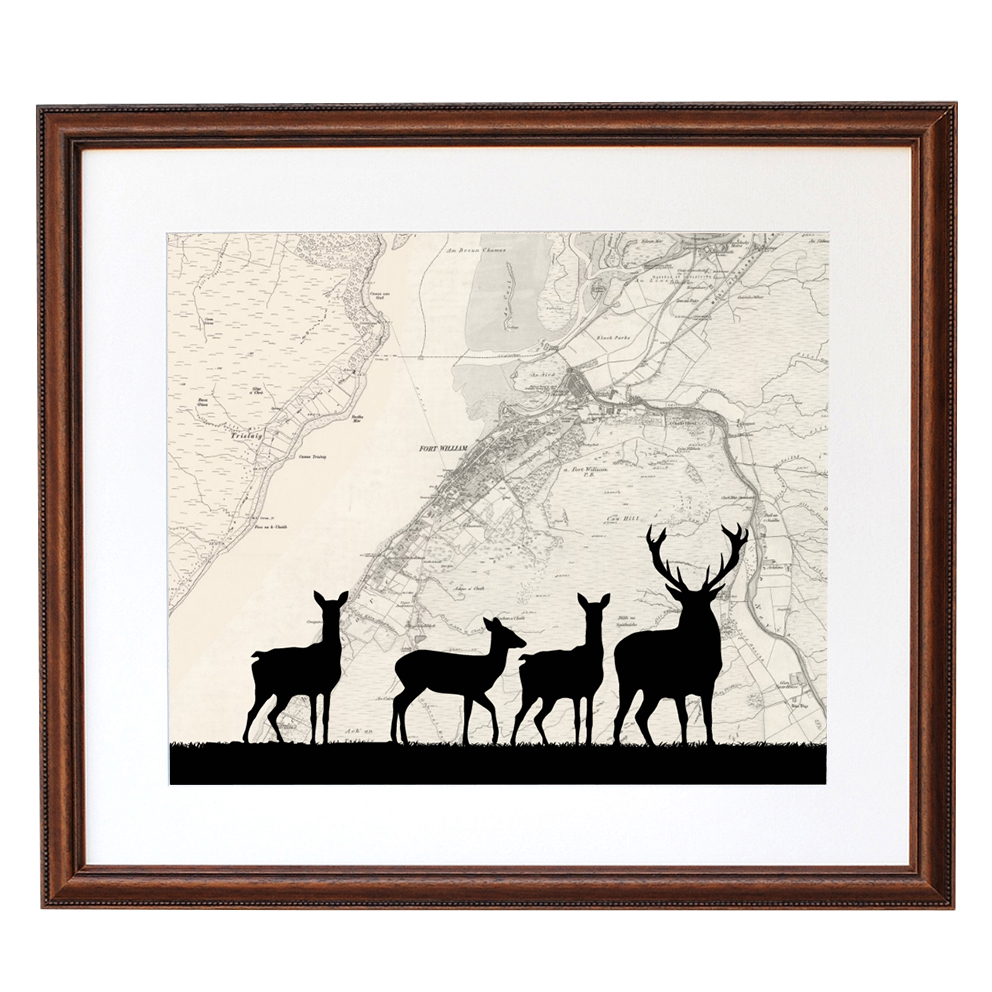 Deer Print with Personalised Map