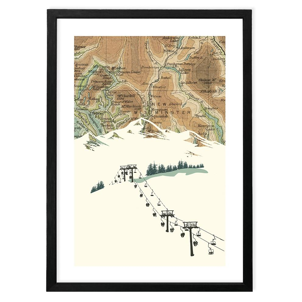 Vintage Map Poster with Ski Lift