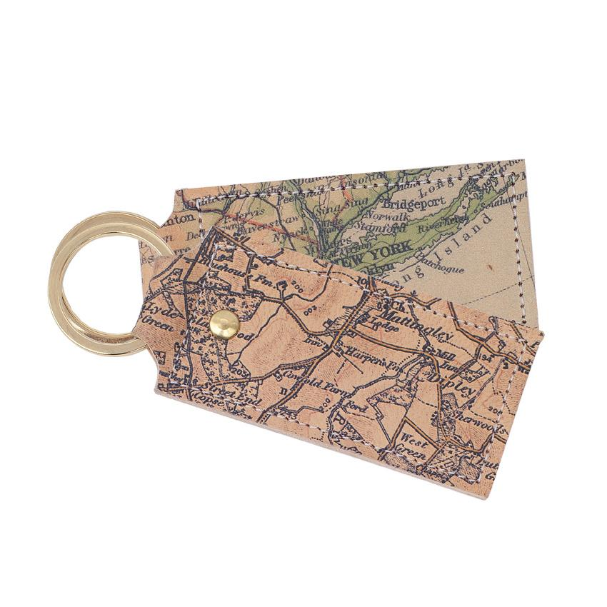 Personalised Map Leather Keyring