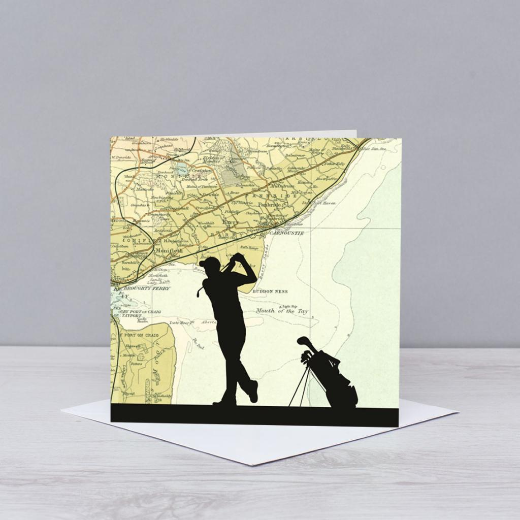 Golfing over Carnoustie Map Card