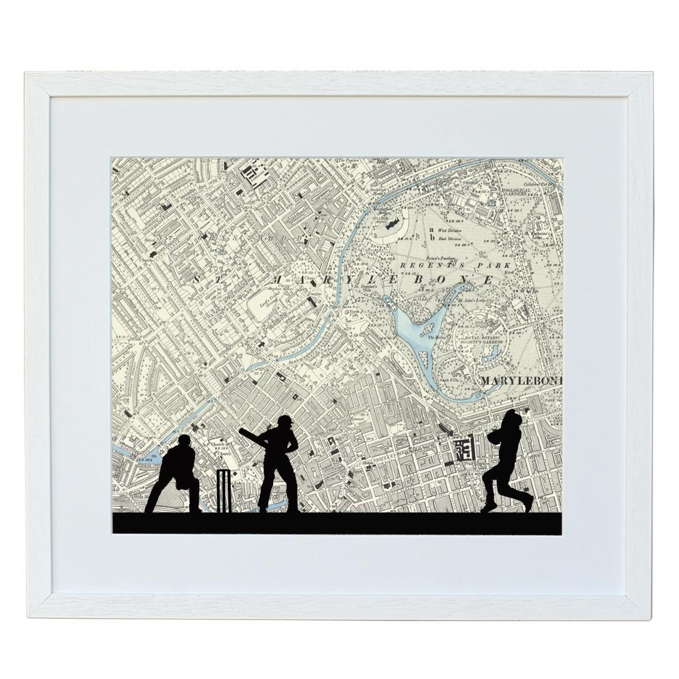 Cricket Print with Personalised Map