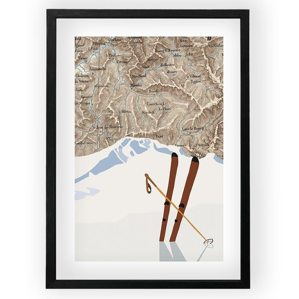Two Skis Vintage Map Poster