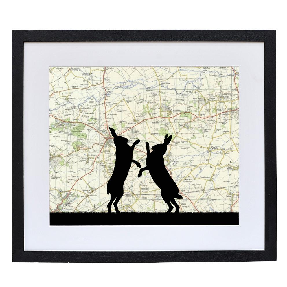 Personalised Boxing Hares Silhouette