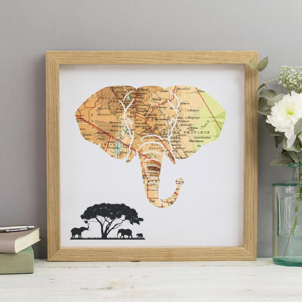 Personalised Vintage Map Elephant Print