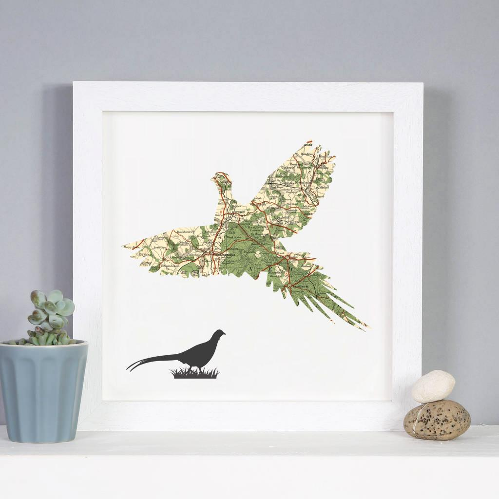 Personalised Vintage Map Pheasant Print