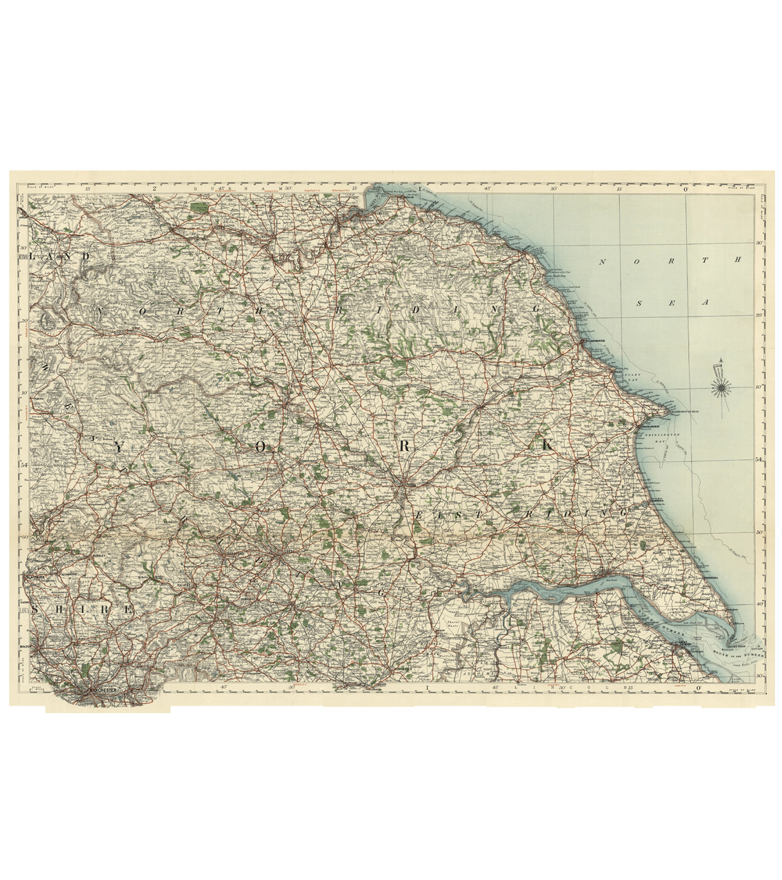 Antique Map Puzzle - Yorkshire, North, East & West Riding