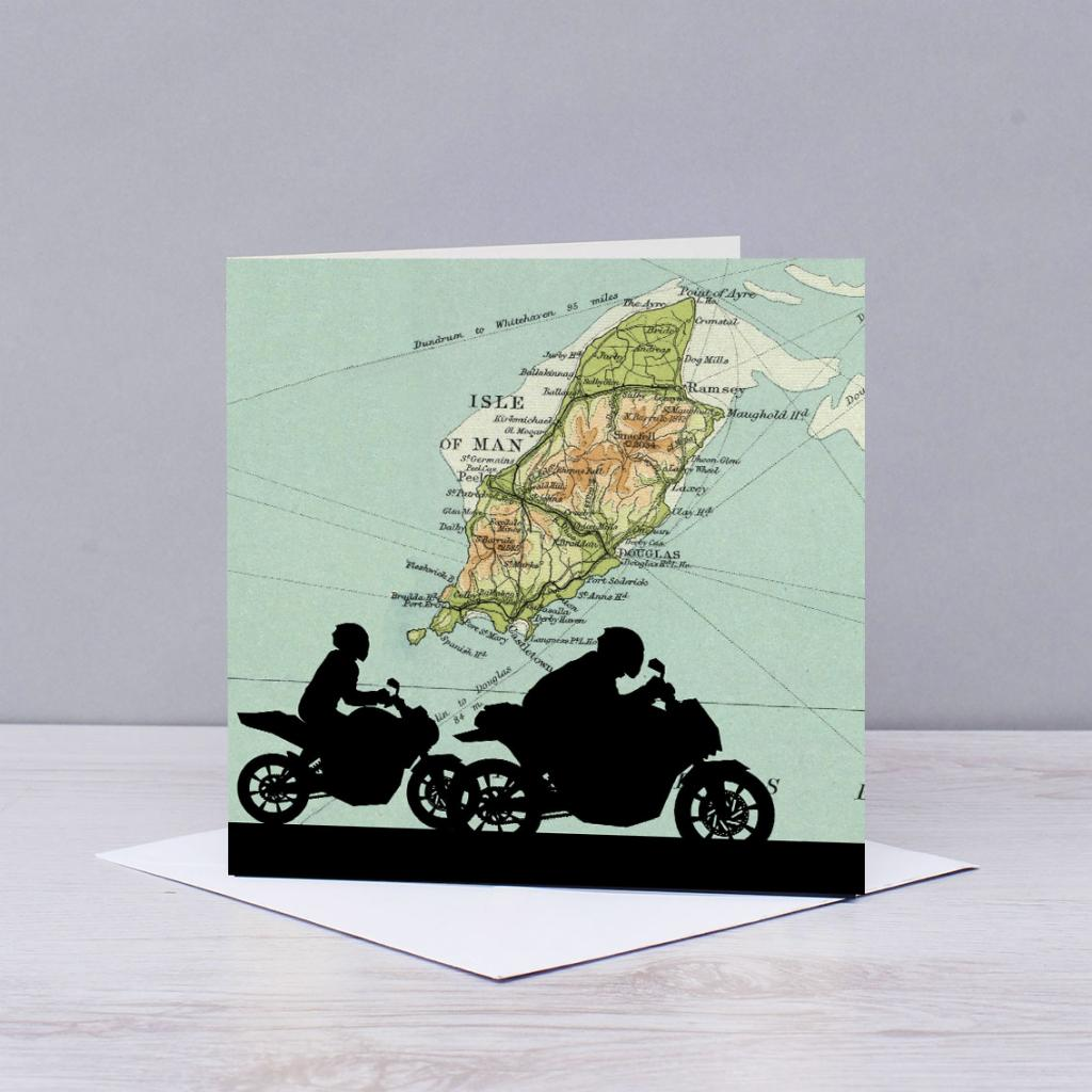 Motorbike Over Map Of The Isle Of Man