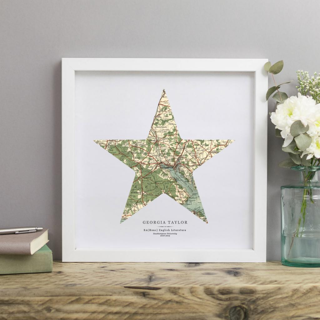 Personalised Vintage Map Star Print