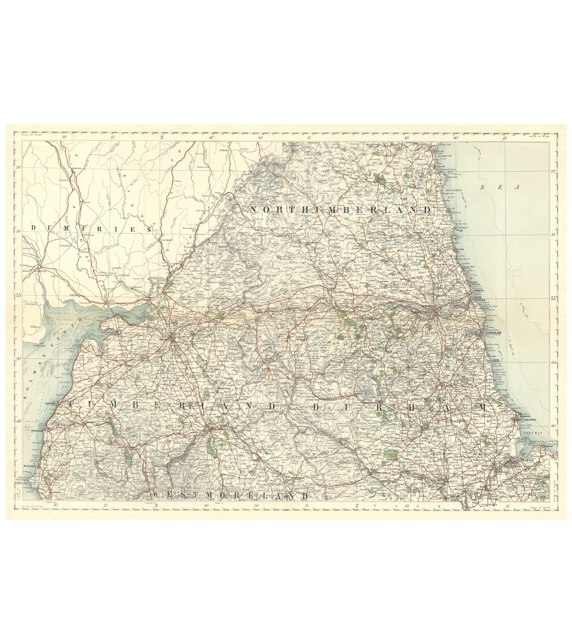 Antique Map Puzzle - Northumberland, Cumberland & Durham