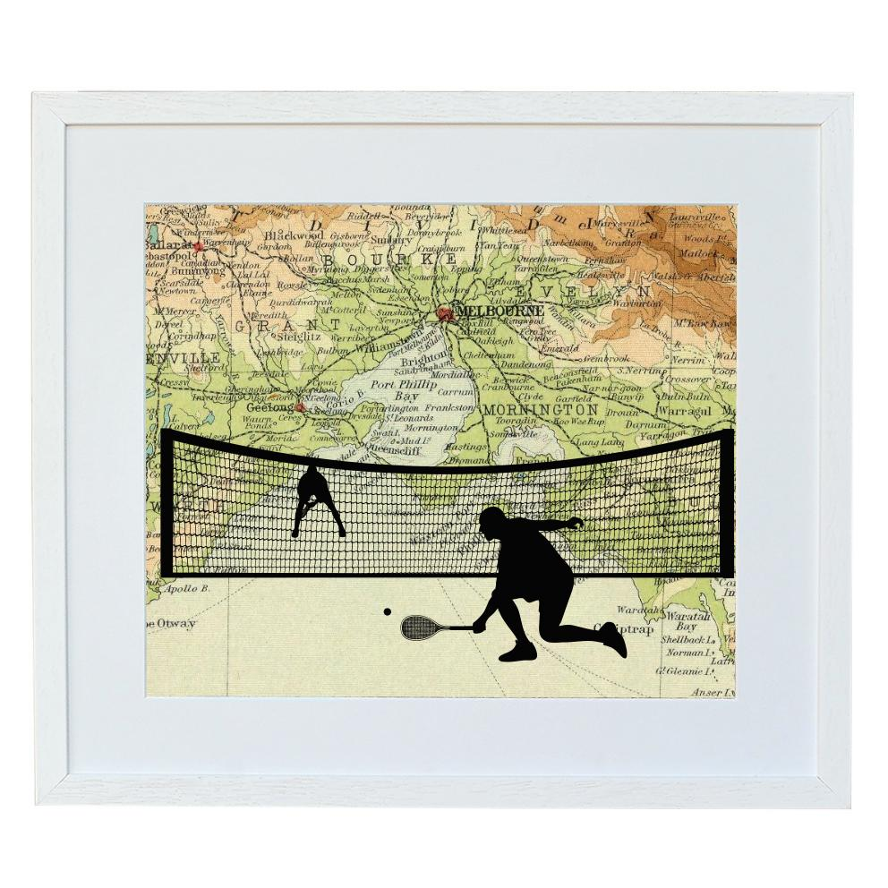 Tennis Print with Personalised Map