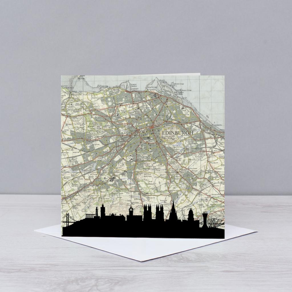 Edinburgh Skyline Map Card