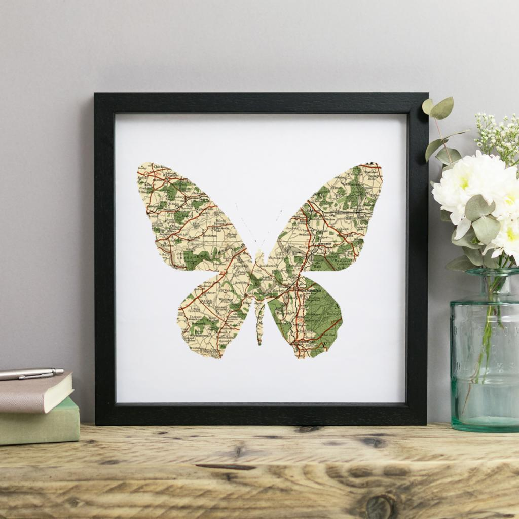 Personalised Vintage Map Butterfly Print