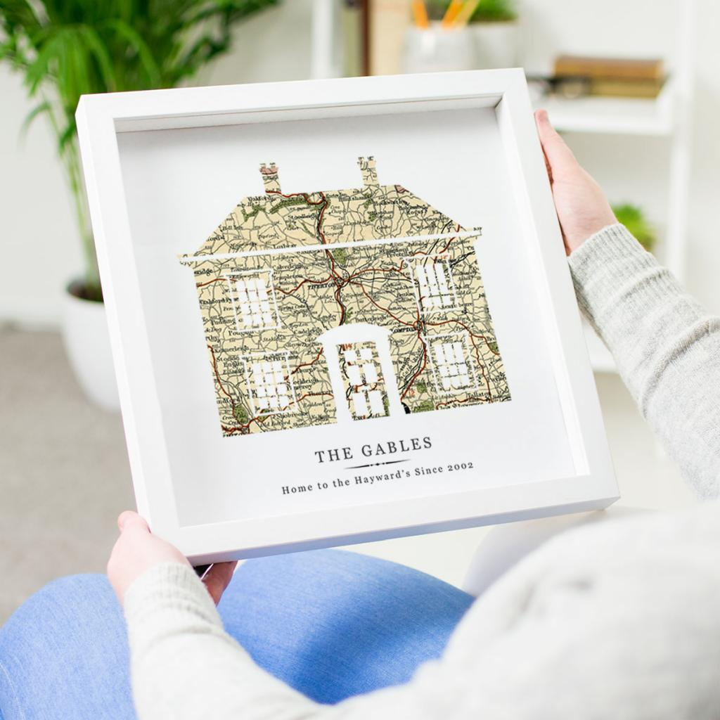 Personalised Vintage Map House Print